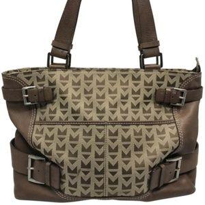 Michael Kors Large Jacquard Fabric Brown Tote Bag